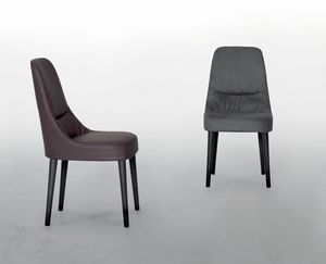 JULIETTE, Leather chair, with soft and comfortable seat