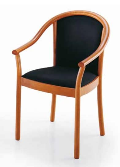 Manuela, Chair with armrests, upholstered, for contract use