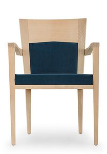 Nico PLUS ARMS, Padded chair with armrests, with wood structure
