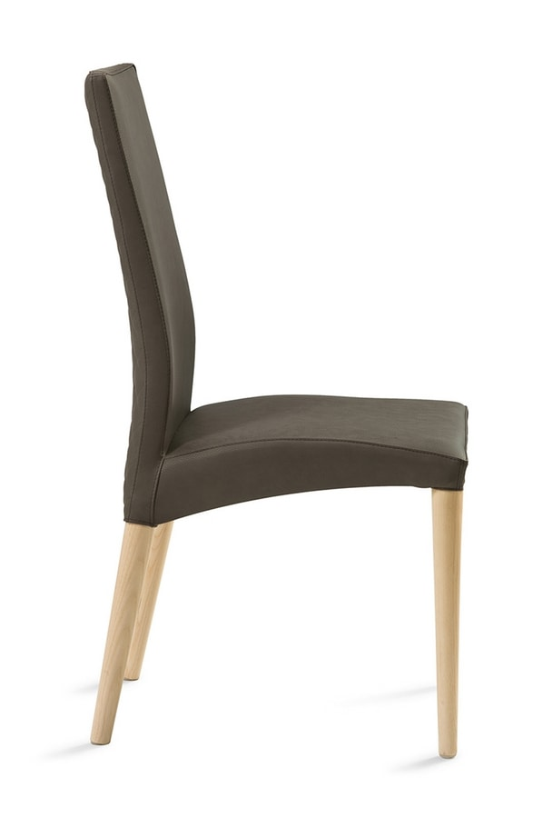 Regina wooden legs, Chair with legs in lacquered beech