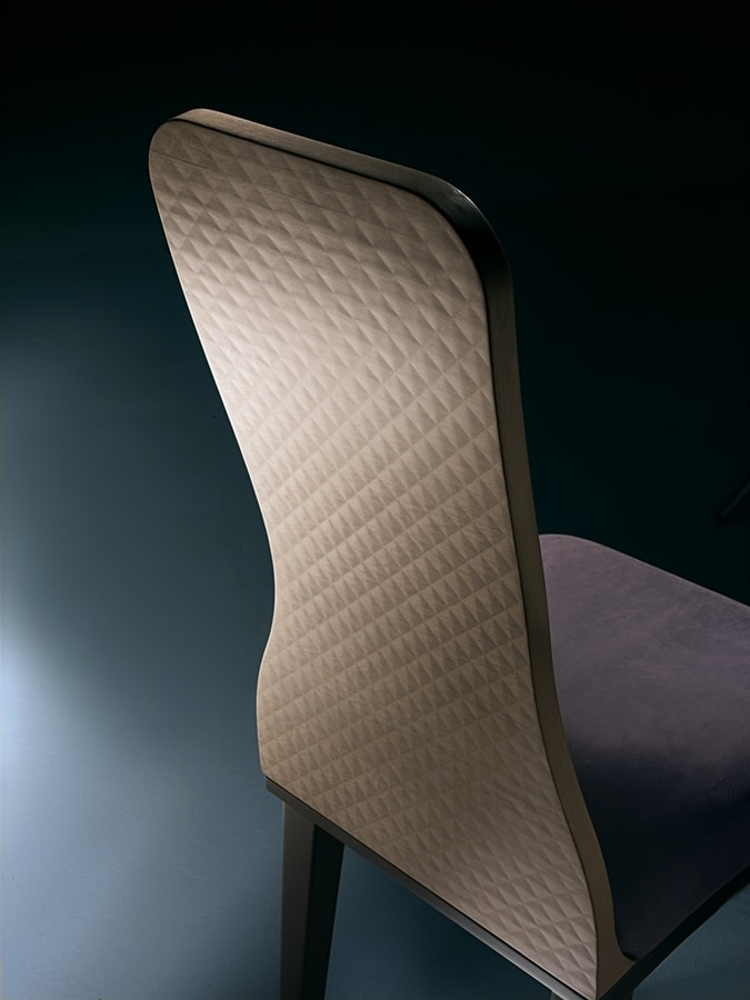 SE56 Optical Skin chair, Chair with wooden backrest, with 3d effect slab