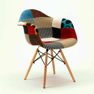 Sedie Poltrona WOODEN PATCHWORK Eiffel Legno Per Casa Bar Salotto E Pub, Padded chair with patchwork effect