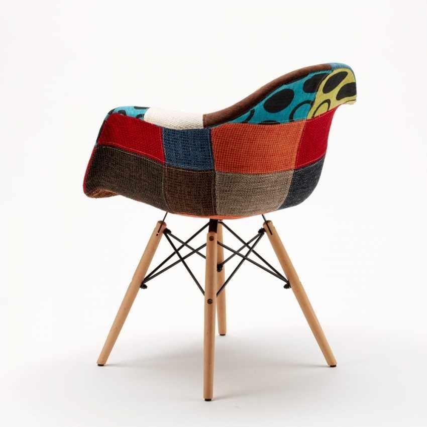 Sedie Poltrona WOODEN PATCHWORK Eiffel Legno Per Casa Bar Salotto E Pub, Padded chair with patchwork effect