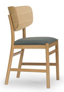 Viky, Chair with curved wooden back