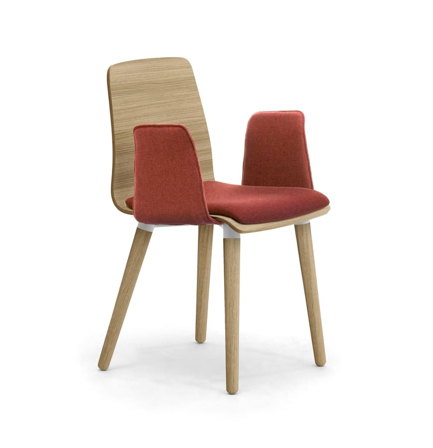 Zerosedici Wood 4GL, Wooden chair with padded armrests and seat