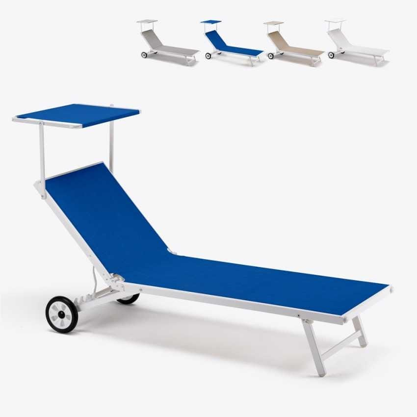 Beach lounger Alabama – AL800LUX, Sun lounger in fabric with canopy, with castors