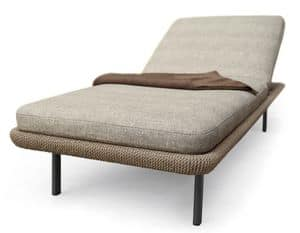 Babylon Day-bed, Padded bed for outside, in aluminum and synthetic fiber