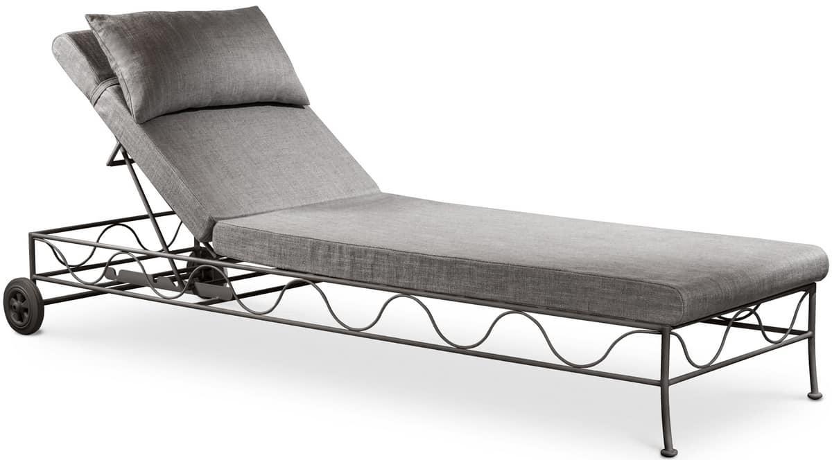 Bahamas new lounger, Oudtoor sunbed covered in linen, adjustable backrest