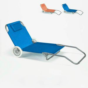 BANANA Folding Deck Chair With Built-in Wheels - BA600OXFAZ, Portable deckchair with wheels