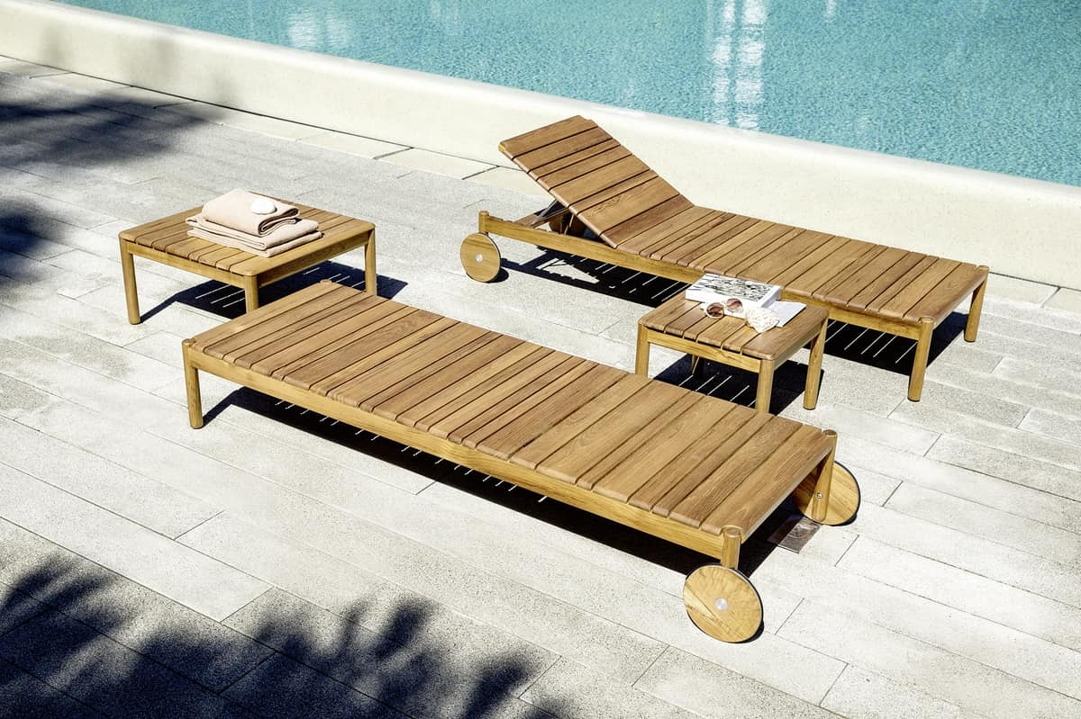 Barcode Day-bed, Sunbeds in teak wood, with cushions, for swimming pools