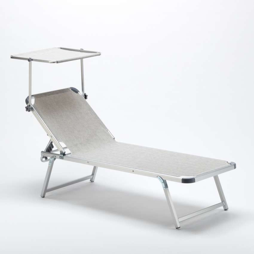 Beach Aluminum Sun Lounger with Adjustable Sunroof NETTUNO - NE800TEX, Beach cot with adjustable roof
