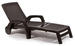 CHAISE LONGUE POLYRATTAN, Sun lounger made of poly rattan, with wheels and armrests