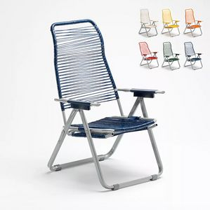 Folding steel corded garden deckchair Spaghetti 640, Folding garden deckchair