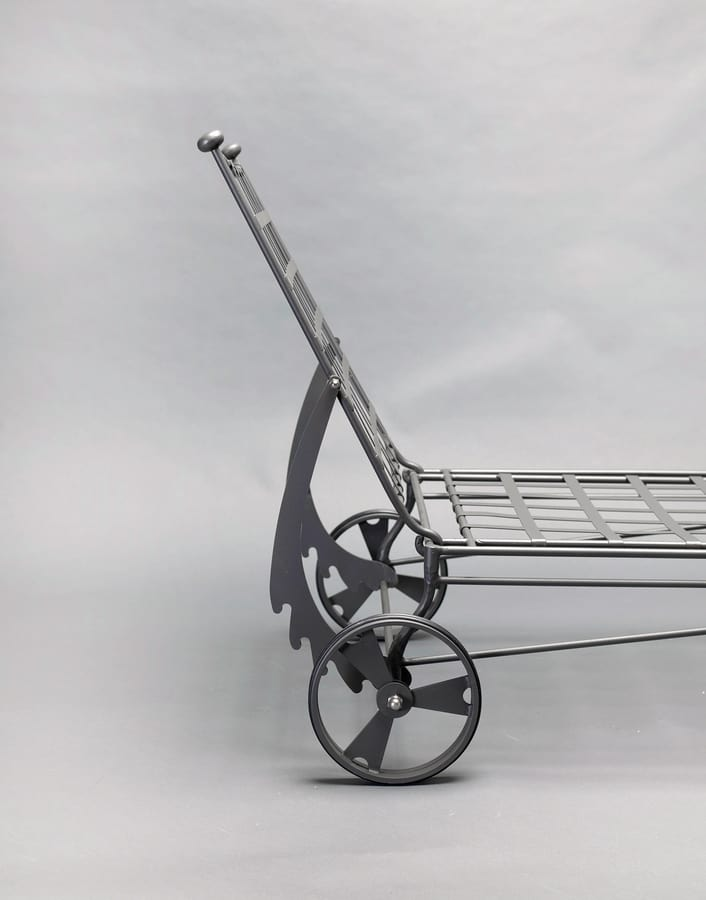 INTRECCIO GF4004BE, Iron bed with wheels for outdoor use
