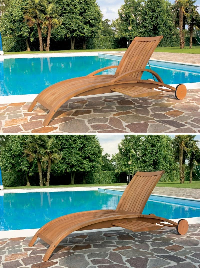 Harmony sunbed, Sunbed for pool and garden, motif with vertical slats