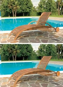 Mirage sunbed, Sunbed for outdoor use, motif with Horizontal slats