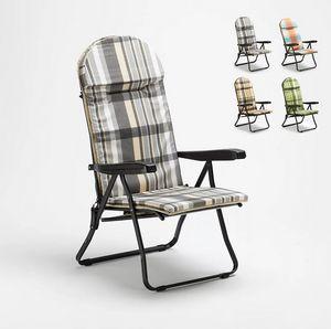 Padded steel folding garden lounge chair Trench 967, Padded folding deckchair