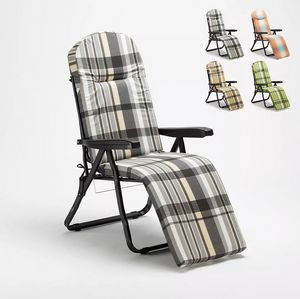 Padded steel folding garden lounger Oldschool 962PT, Padded deck chair