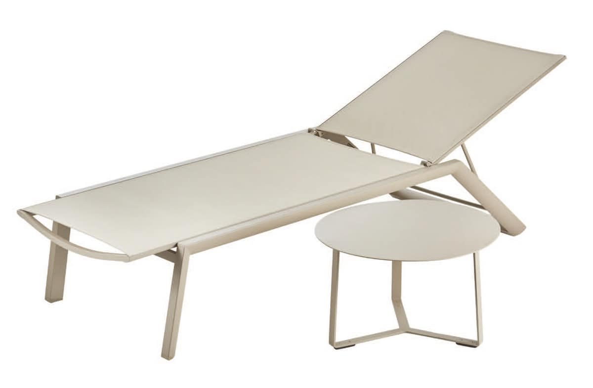 PL Singapore, Sunlounger in aluminum and textilene, stackable