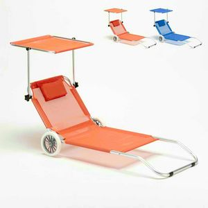 Portable Deck Chair with Head Shade Folding Lounger BANANA - BA600LUXAR, Portable aluminum deckchair