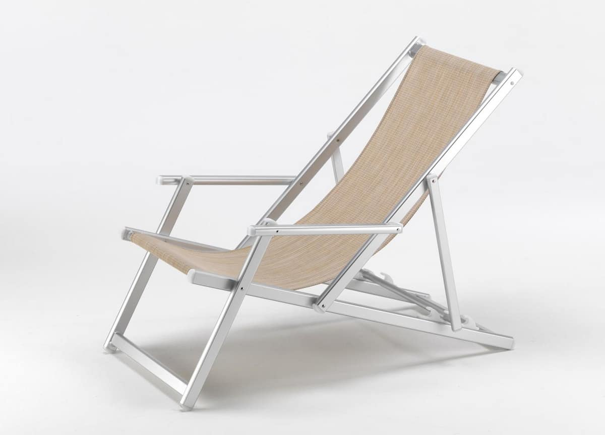swimming pool deckchair Riccione – RI800LUX, Deck chair with armrests and reclining backrest, tear-resistant