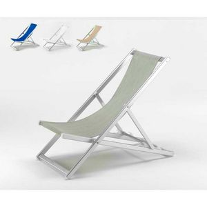 Aluminum sea deck chair Riccione - RI800TEX, Folding sunlounger with reclining backrest, easy to wash