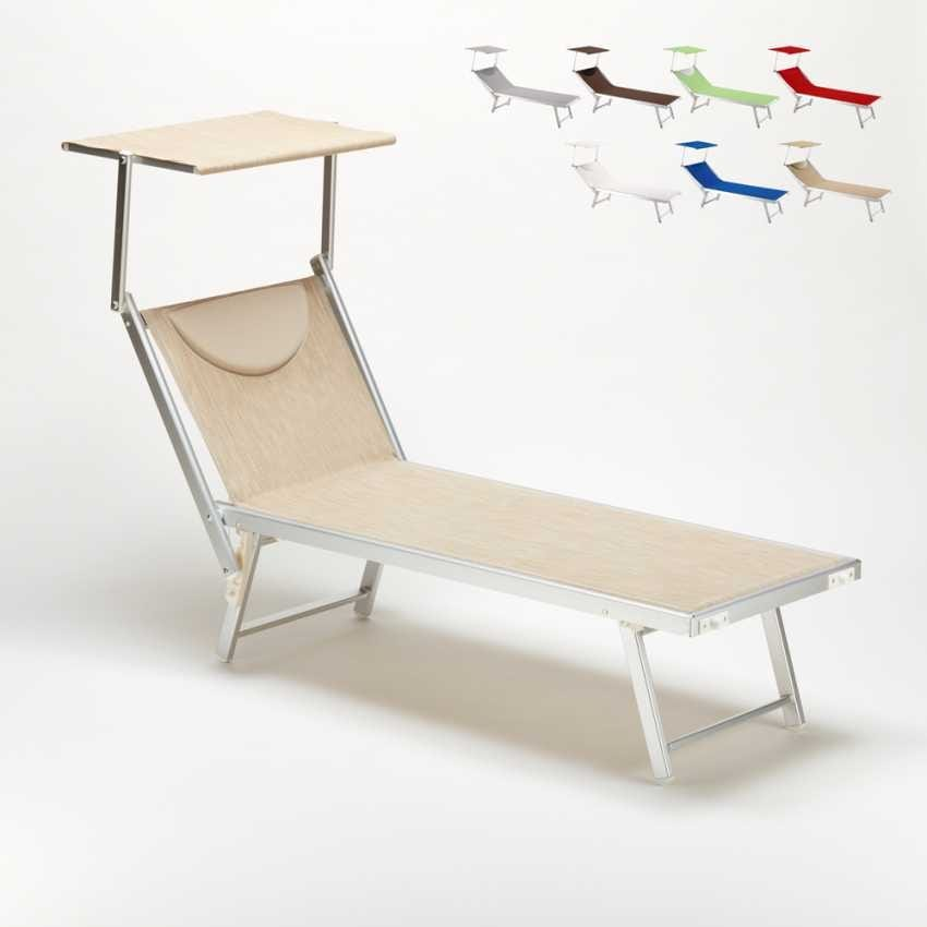 Sun lounger sunbathing sea Santorini – SA800TEX, Beach lounger with adjustable backrest and canopy