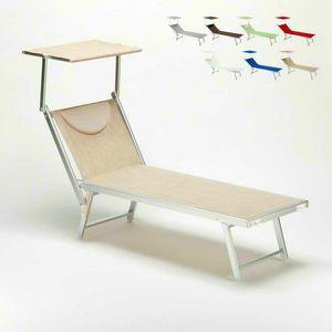 Sun lounger sunbathing sea Santorini � SA800TEX, Beach lounger with adjustable backrest and canopy