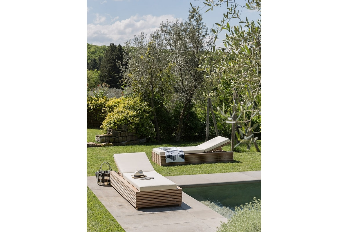 Saint Tropez 0517, Reclining sun lounger with pull-out table