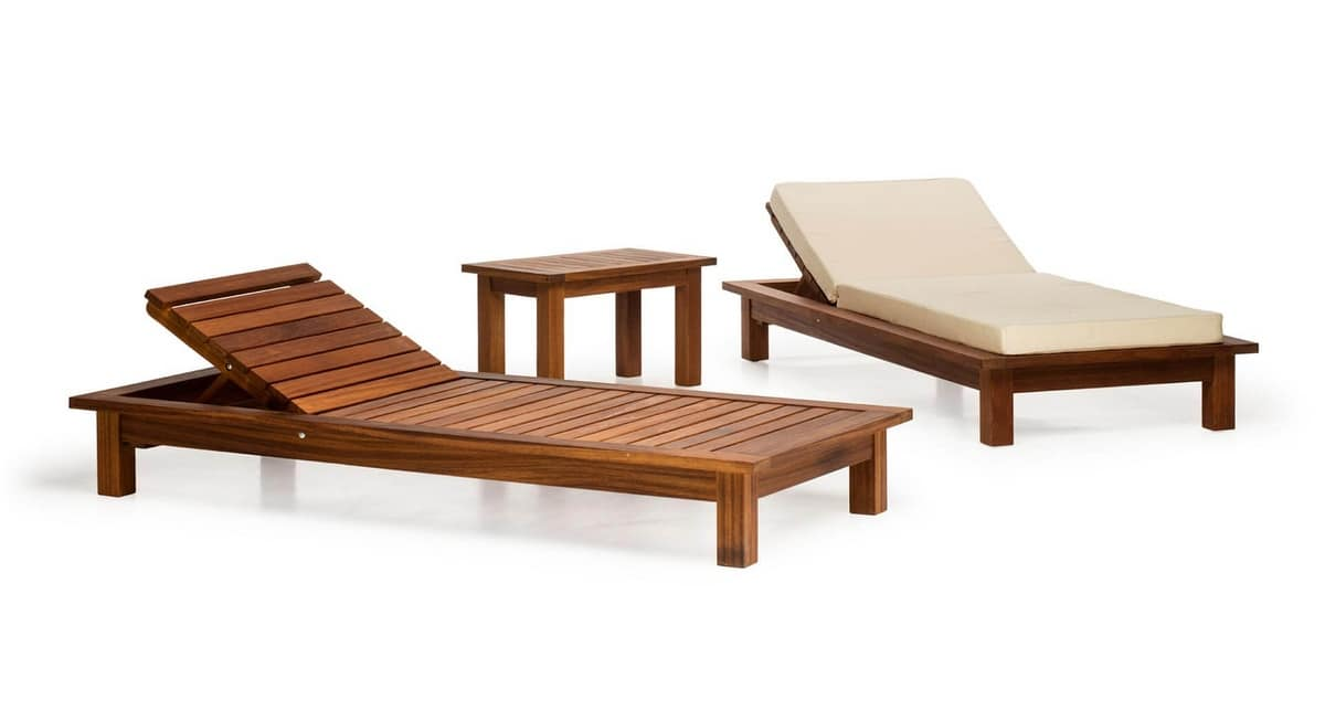 Sorrento/lt, Outdoor daybed in wood, for gardens, swimming pools, terraces