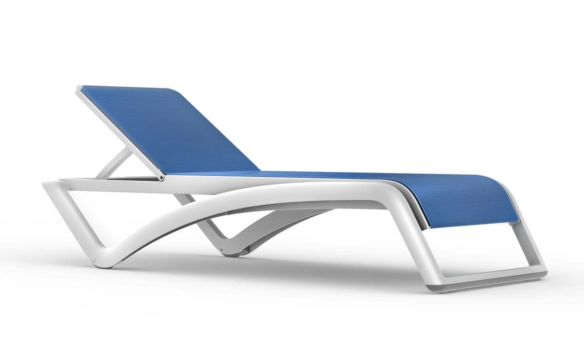 Sun, Stackable sunlounger, with wheels, in various colors