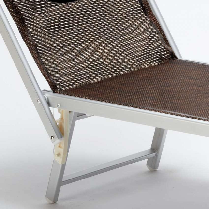 Sunbed sunbathing chair aluminum beach Santorini Limited Edition - SA800TEXL, Sea bed in aluminum and fabric