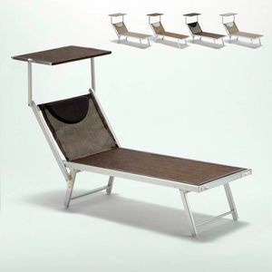 Sunbed sunbathing chair aluminum beach Santorini Limited Edition - SA800TEXL, Sea bed in aluminum and fabric