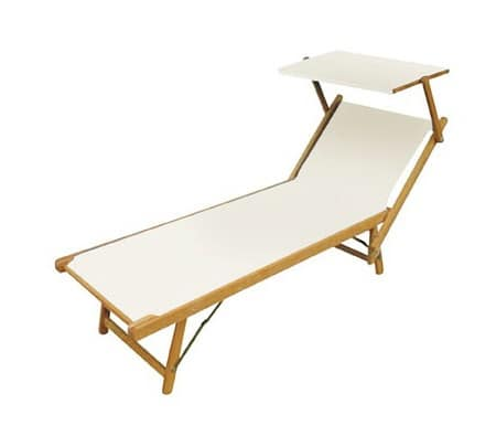 Sunbed, Outdoor sunbed in beech and plastic canvas