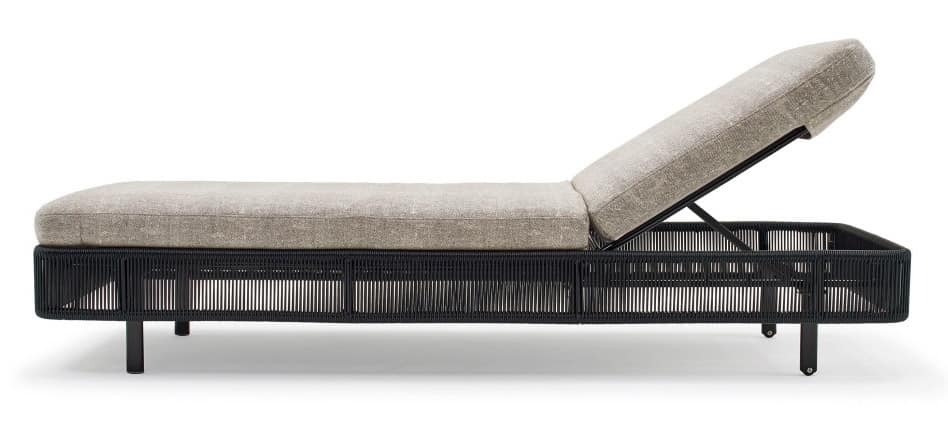Tibidabo sunlounger, Sunlounger with aluminum base, in braided wire