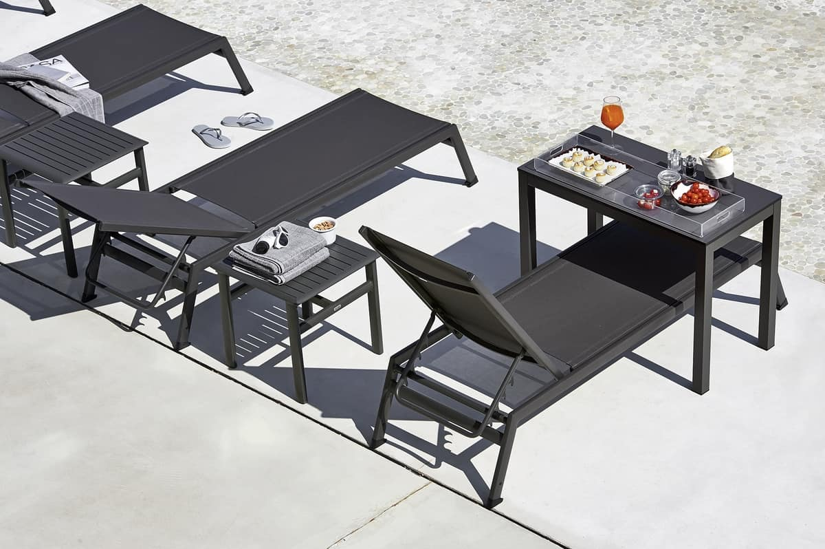 Victor sunbed, Sunlounger for beaches and pools, in aluminum and batyline fabric