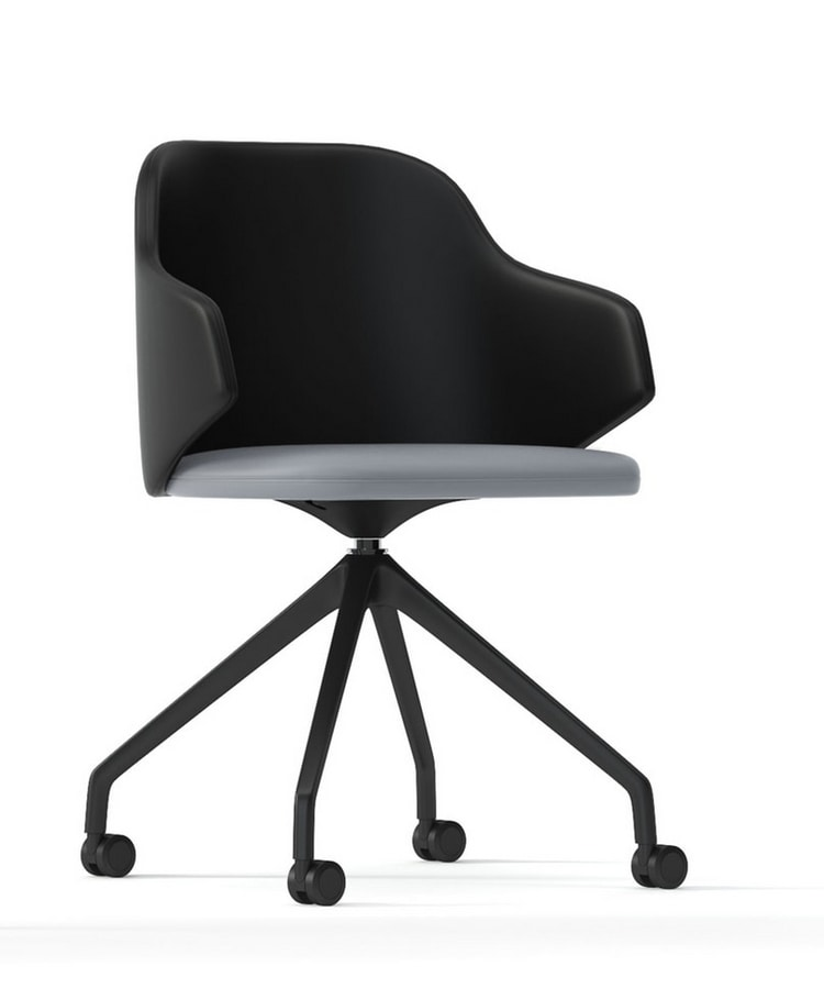 HOST, Swivel armchair with wheels