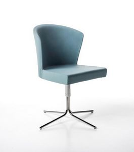 Kontè 4 blades, Chair with aluminum swivel base