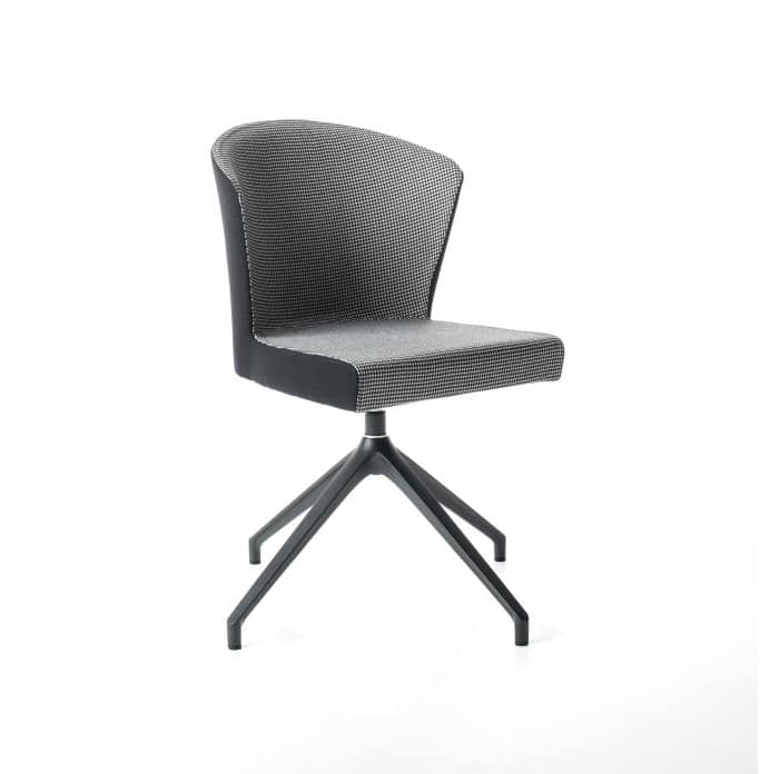 Kontè pyramid base, Comfortable padded chair with swivel base