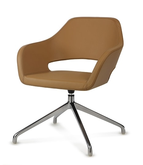 NUBIA 2206, Swivel chair upholstered in leather