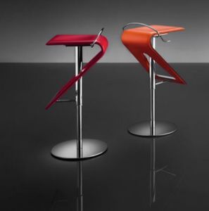ART. 245 ZAG leather, Modern adjustable stool, seat in leather, for bars