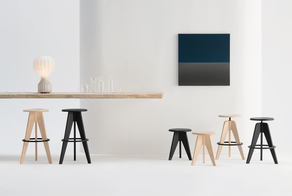 ART. 308 TURN adjustable, Height adjustable barstool, with round wooden seat