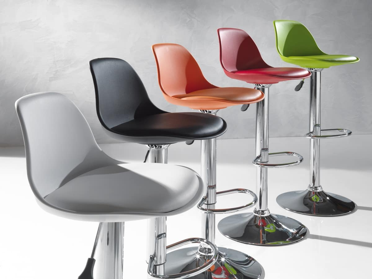 Art. 550 Fruit, Height-adjustable stool, with faux leather cushion