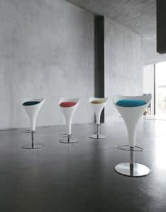 CALICE, Swivel stool in metal and polyurethane, for Kitchen