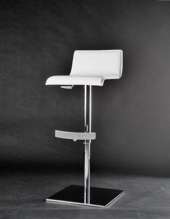 Eros barstool, Stool with adjustable height, swivel, with seat covered in thick leather