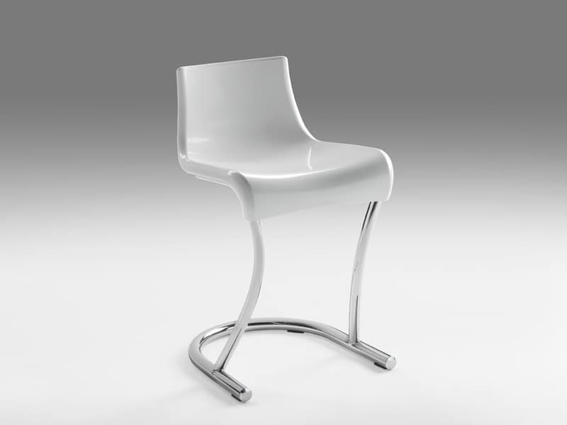 Flamingo 3, Metal chair with seat in plastic material, for Modern houses