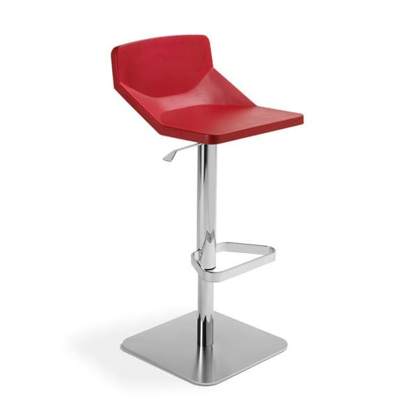 Formula80 adjustable soft-poly, Adjustable stool, upholstered seat, suitable for restaurant and bar