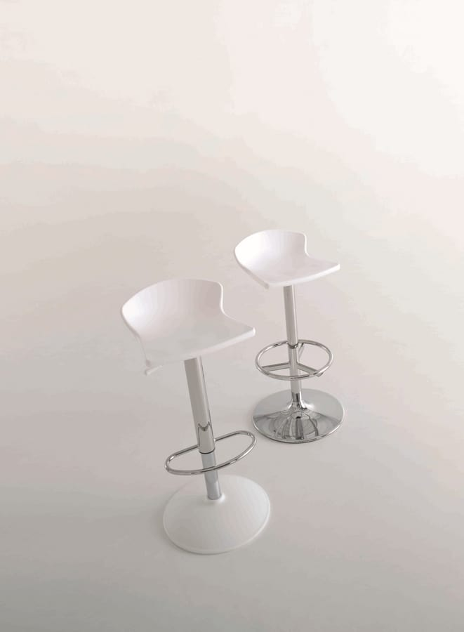 Gulliver, Barstool with adjustable height, in steel, for pubs