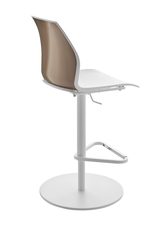 Kalea stool, Height-adjustable stool with polypropylene shell
