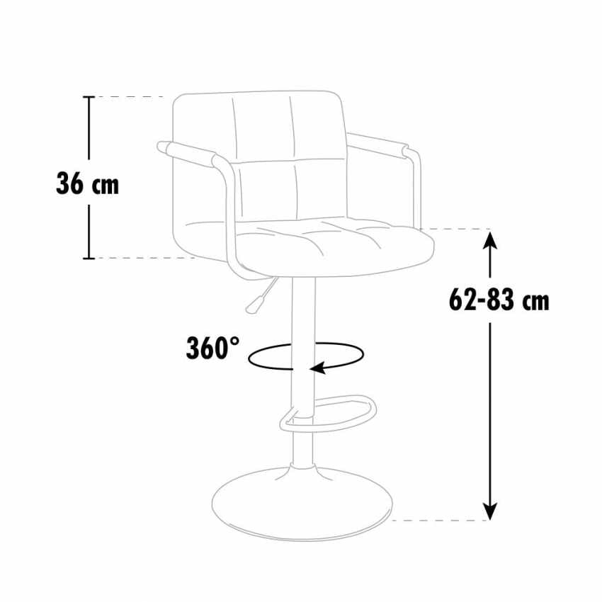 Kitchen high barstool Las Vegas - SGA053LA, Padded stool with armrests, for contract use